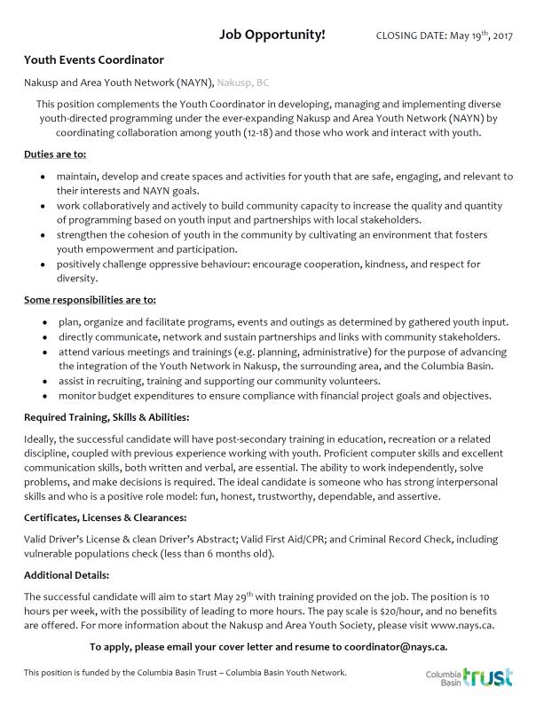 Youth Events Coordinator job description
